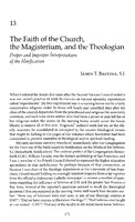 The faith of the church, the magisterium, and the theologian