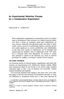 An experimental selection process for a collaborative organization