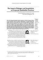The impact of mergers and acquisitions on corporate stakeholder practices