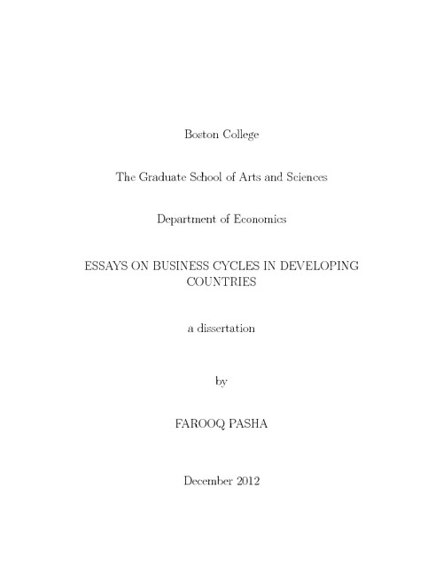 essays on business cycles in developing countries  escholarshipbc abstract