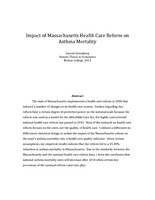Impact of Massachusetts Health Care Reform on Asthma Mortality