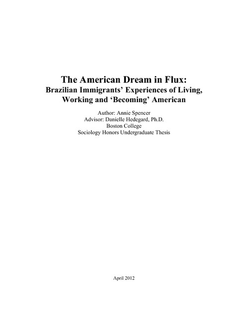 thesis for the american dream James truslow adams, in his book the epic of america, which was written in 1931, stated that the american dream is that dream of a land in which life should be better and richer and fuller for everyone, with opportunity for each according to.