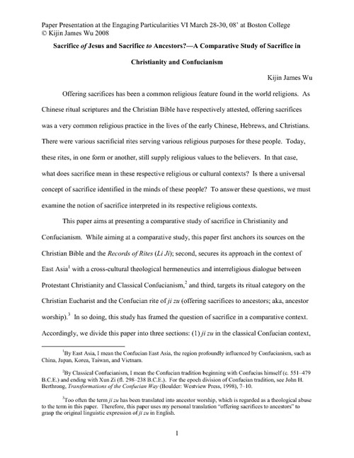 a comparative study of the teachings of confucianism and christianity Aside from its important ethical principles, confucianism does not prescribe any specific rituals or practices these are filled by the practices of chinese religion, taoism, buddhism, or other religion which confucians follow.