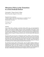 Monetary Policy in the Transition to a Zero Federal Deficit
