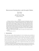 Macroeconomic Interdependence under Incomplete Markets