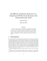 On Efficient Jurisdiction Structure in a Simple Local Public Goods Economy with Interjurisdictional Trade