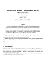 Estimation of Average Treatment Effects With Misclassification
