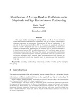 Identification of Average Random Coefficients under Magnitude and Sign Restrictions on Confounding