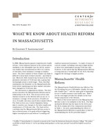 What we know about health reform in Massachusetts