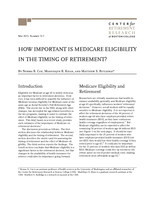 How important is medicare eligibility in the timing of retirement?