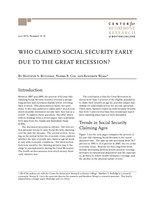 Who claimed Social Security early due to the Great Recession?