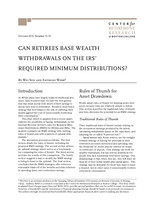 Can retirees base wealth withdrawals on the IRS' required minimum distributions?