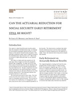 Can the actuarial reduction for Social Security early retirement still be right?
