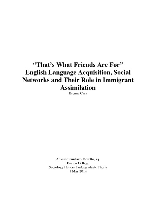 that s what friends are for english language acquisition social  abstract