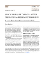 How will higher tax rates affect the National Retirement Risk Index?