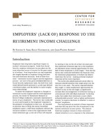 Employers' (lack of) response to the retirement income challenge