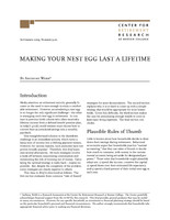 Making your nest egg last a lifetime
