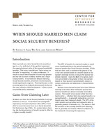 When should married men claim Social Security benefits?