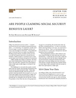 Are people claiming Social Security benefits later?