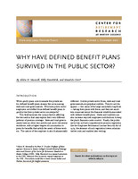 Why have defined benefit plans survived in the public sector?