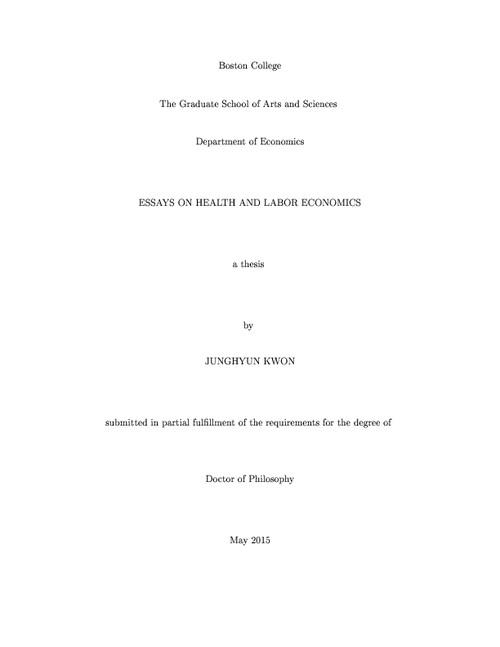essays on health and labor economics  escholarshipbc abstract