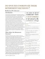 Do spouses coordinate retirement decisions?