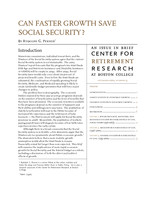 Can faster growth save Social Security?