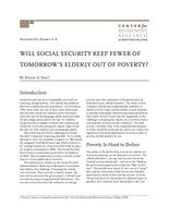 Will Social Security keep fewer of tomorrow's elderly out of poverty?