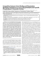 Competition between anion binding and dimerization modulates Staphylococcus aureus phosphatidylinositol-specific phospholipase C enzymatic activity