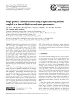 Single particle characterization using a light scattering module coupled to a time-of-flight aerosol mass spectrometer