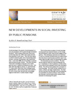 New developments in social investing by public pensions