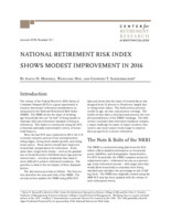 National Retirement Risk Index shows modest improvement in 2016