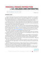 Personal finance instruction at U.S. colleges and universities