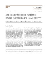 Are homeownership patterns stable enough to tap home equity?