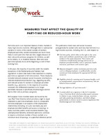 Measures that affect the quality of part-time or reduced-hour work