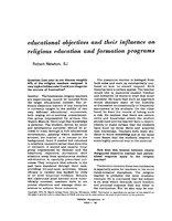 Educational objectives and thie influence on religious education and formation programs