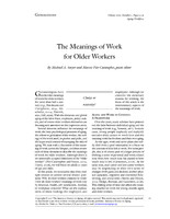 The meanings of work for older workers