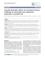 Sexually dimorphic effects of a prenatal immune challenge on social play and vasopressin expression in juvenile rats