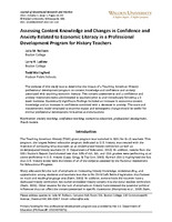Assessing content knowledge and changes in confidence and anxiety-related to economic literacy in a professional development program for history teachers