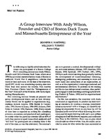 A group interview with Andy Wilson, founder and CEO of Boston Duck Tours and Massachusetts entrepreneur of the year