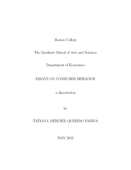 Dissertation on consumer behavior