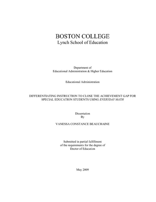 Dissertation titles on special educational needs