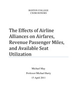 The Effects of Airline Alliances on Airfares, Revenue Passenger Miles, and Available Seat Utilization