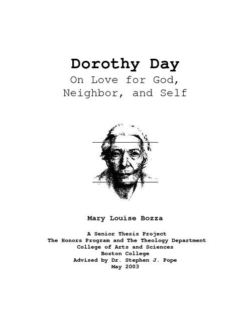 dorothy day thesis Dorothy leigh sayers (/ ˈ s in sayers's day it was the custom of the randi, from mystery to manners: a study of five detective novels by dorothy l sayers.