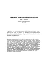 Trade Reform with a Government Budget Constraint