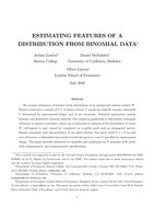 Estimating Features of a Distribution from Binomial Data