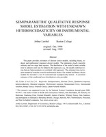 Semiparametric Qualitative Response Model Estimation with Unknown Heteroskedasticity or Instrumental Variables