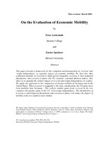 On the Evaluation of Economic Mobility