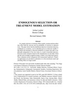 Endogenous Selection Or Treatment Model Estimation