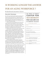 Is Working Longer the Answer for an Aging Workforce?